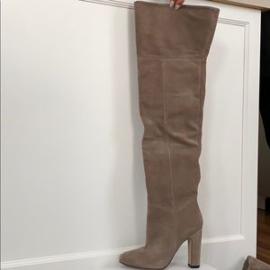 Suede thigh high boots never worn